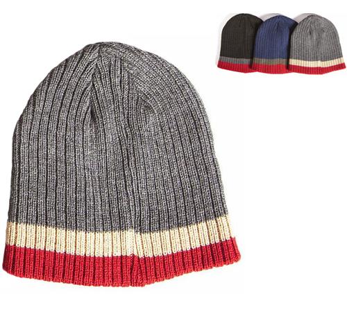 7b098b585e9 100% Acrylic Rib Knitted Beanie Hats with Stripe 3009 (Dozen)